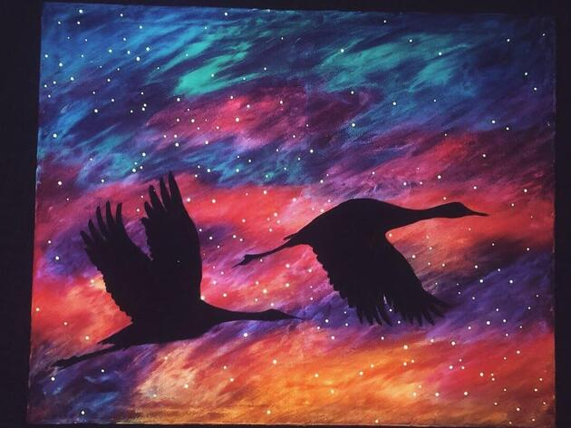 """Learn to Paint a Sandhill Crane Scene at """"Painting on the Platte"""""""